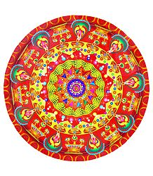 Round Sticker Rangoli with Diya Print