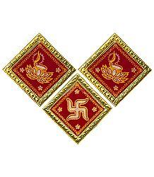 Diya & Swastika Velvet Paper Sticker