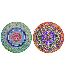 Set of 2 Glazed Paper Sticker Rangoli Print