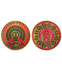 Set of 2 Metallic Paper Sticker Rangoli