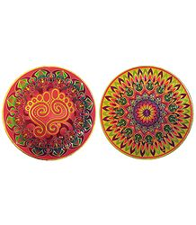 Set of 2 Glazed Paper Sticker Rangoli