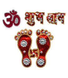 Buy Om, Shubh Labh & Charan Glitter Sticker