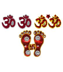 Charan, Om and Shubh Labh Glitter Sticker - Set of 3