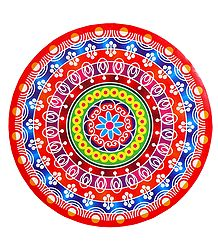 Multicolor Alpana Print on Round Sticker