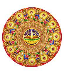 Rangoli Paper Sticker with Diya Print