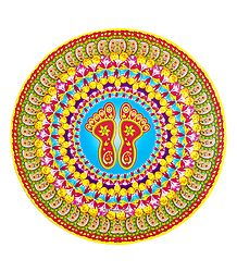 Rangoli Paper Sticker with Charan Print