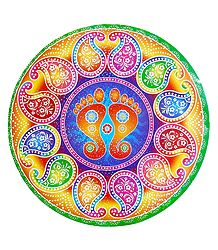 Charan and Paisley Print on Sticker Rangoli