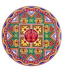 Kalash Print on Sticker Rangoli