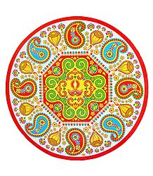 Diya and Paisley Print on Sticker Rangoli