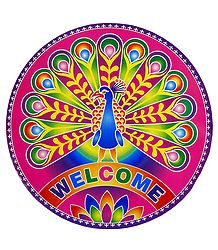 Peacock with Welcome Print on Round Sticker
