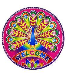 Multicolor Peacock Print Sticker