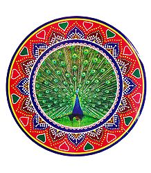 Peacock Print on Sticker Rangoli