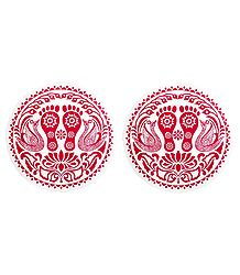 Pair of Rangoli Sticker with Charan Print