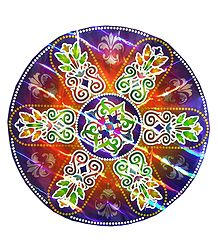 Colorful Rangoli Print on Metallic Paper Sticker