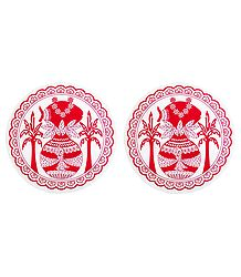 Pair of Paper Sticker Rangoli with Kalash Print
