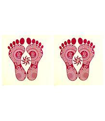Pair of Rangoli Paper Sticker with Charan Print