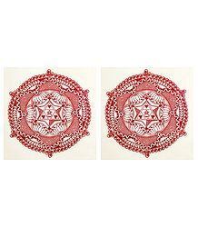 Pair of Printed Paper Sticker Rangoli
