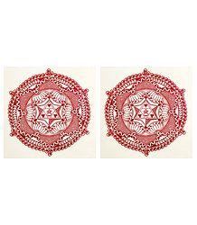 Pair of Printed Paper Sticker Rangoli