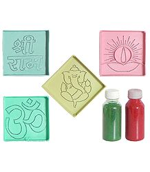 4 Rangoli Design with 2 Colorful  Powder