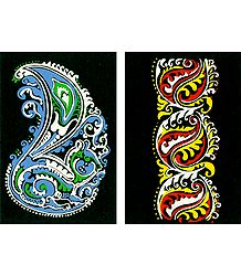 Set of Two Hand Painted Colorful Rangoli Design on Paper