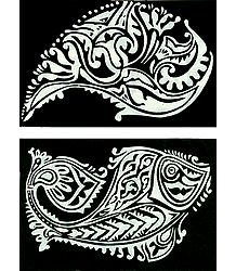 Set of Two Hand Painted White Rangoli Design on Handmade Paper