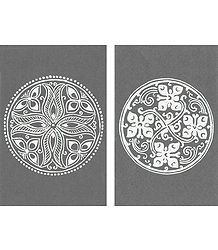 Set of Two Hand Painted White Rangoli Design Template on Black Paper