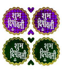 2 Pairs of Shubh Deepavali Sticker