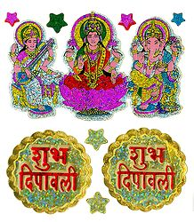 Deities and 2 Pairs of Shubh Deepavali Stickers