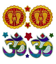2 Pairs of Om and Charan Sticker