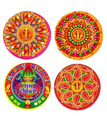 Set of 4 Colorful Rangoli Print on Paper Sticker