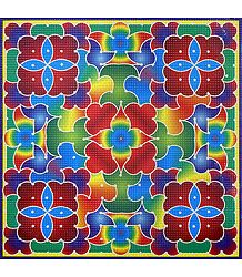 Colorful Print on Square Sticker Rangoli
