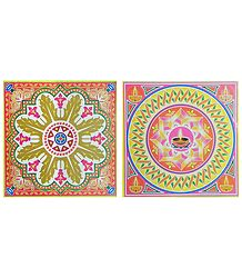 Set of 2 Rangoli Print on Square Paper Sticker