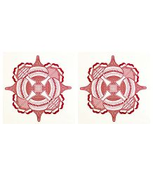 Pair of Printed Rangoli Paper Sticker