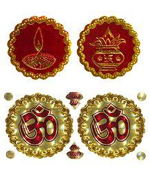 Kalash, Diya and Om - Auspicious Hindu Symbols