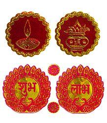 Kalash, Diya and Shubh Labh - Auspicious Hindu Symbols