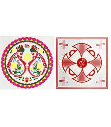 Set of 2 Colorful Ritual Print on Transparent Sheet Sticker