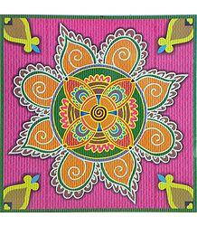 Colorful Sticker Rangoli Print on Glazed Paper