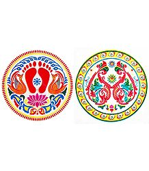 Set of 2 Rangoli Print on Transparent Sheet Sticker