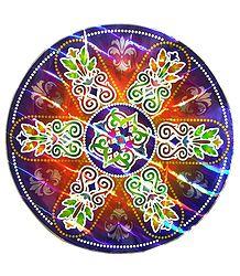 Colorful Rangoli Print on Metallic Paper Sticker