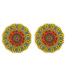 Set of 2 Colorful Paper Sticker Rangoli