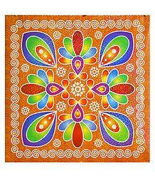 Flower Design on Glazed Paper Sticker