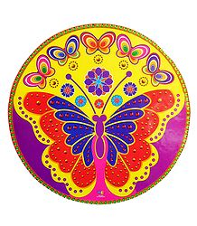 Multicolor Butterfly Print on Round Sticker