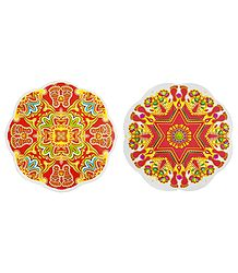 Set of 2 Colorful Rangoli Stickers