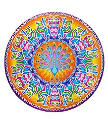Peacock Print on Sticker Rangoli
