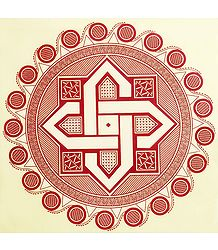 Rangoli Paper Sticker with Geometrical Print
