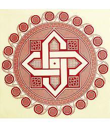 Rangoli Paper Sticker with Geometrical Print