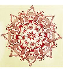 Rangoli Paper Sticker with Flower Print