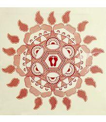 Rangoli Paper Sticker with Paisley and Charan Print