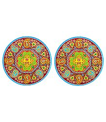 Pair of Rangoli Stickers with Paisley Design