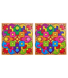 Pair of Square Rangoli Stickers with Geometrical Design